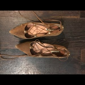 Halogen Lace-up Flats, brown suede size 10
